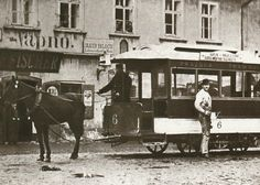 A carriage of the Prague horse-driven tram in Karlín  - 1883
