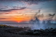 Sunset - sunset by the Blow Hole in Kona