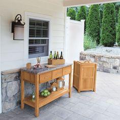 Teak Outdoor Tables   Berwick Buffet U0026 New Caledonia Granite