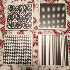 """DIY Coasters  Made these for teacher's gifts.   Used white 4""""x4"""" tiles (.28 cents), scrapbook paper ($1.29 and can get 9 coasters from 1 sheet), Modge Podge, foam brush and a clear coat spray sealant. Cover the back with a square piece of felt.   An inexpensive handmade gift!  I will be trying this with 0.5"""" backsplash tiles and attach a magnet on the back to make fridge magnets."""