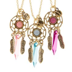 Best Friends Gold Dream Catcher with Dangling Feathers and Crystal Pendant Necklaces Set of 3