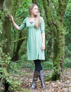Still-Kleid 3/4-Arm grün mit Vogeldruck - Frugi