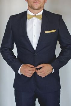 Navy Blue Suit With Gold Bow Tie For Groomsmen