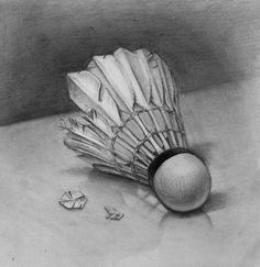 a badminton shuttle. I thought a perfect shuttlecock might look boring, so i drew it a bit broken. Sketchbook Drawings, Art Drawings Sketches Simple, Pencil Art Drawings, Drawing Ideas, Sketching, Still Life Sketch, Still Life Drawing, Realistic Sketch, Realistic Pencil Drawings