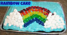 rainbow cake using jelly beans and mini marshmallows--what fun!