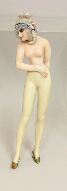 "13"" Antique Female Wax Figure Original Owner Doll A Beautiful FA Lot 3409 