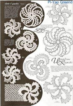 Photo from album Дуплет-Ирландские кружева 6 on Yandex.Disk - - View album on Yandex. Irish Crochet Patterns, Crochet Symbols, Crochet Motifs, Crochet Diagram, Freeform Crochet, Crochet Squares, Crochet Chart, Crochet Stitches, Crochet Leaves