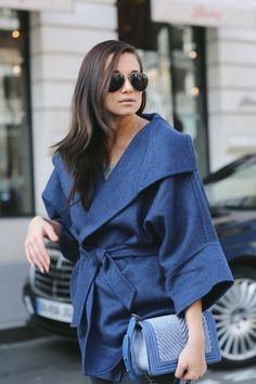 #weworewhat #style Sacrébleu! Blue Coat. Blue Bag. Blue Fashion DO!