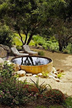 """The """"spool"""": Smaller than a swimming pool but larger than a jacuzzi. Made from a converted galvanized horse tank. In Santa Barbara, California Outdoor Spaces, Outdoor Living, Outdoor Decor, Outdoor Tub, Outdoor Fire, Jacuzzi, Stock Tank Pool, Cool Pools, Pool Designs"""
