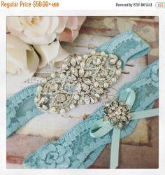 15% SALE Wedding garter set Bridal garter set Aqua by GarterQueen