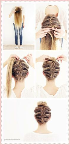 A guide to doing an quot;upside down quot; french braid love it! makeup and how to style for girls upside down french braid hair tutorial Short Hair Styles Easy, Short Hair Updo, Messy Hairstyles, Curly Hair Styles, Natural Hair Styles, Hairstyle Ideas, Hair Ideas, Upside Down French Braid, French Braid Buns