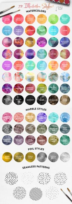The Watercolor Media Kit (for AI) by Callie Hegstrom on @creativemarket