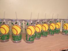 Quantity 11 Personalized acrylic tumbler w/ lid and straw - Volleyball, basketball, baseball, any sport, Clear or Black cup Softball Team Gifts, Softball Party, Softball Crafts, Softball Coach, Tennis Party, Tennis Gifts, Girls Softball, Fastpitch Softball, Baseball Mom