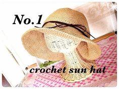 【1】エコアンダリア3玉で編める大人用のかぎ針編み(crochet)帽子の編み方☆sun hat - YouTube
