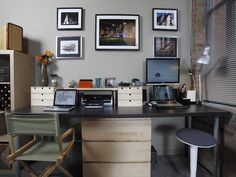 2 Person Home Office Design   Person Desk: Solutions for Designing and Decorating Your Home Office.  I like the wall color.