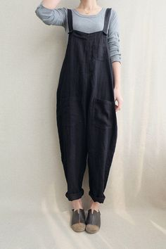 Women Casual Linen Jumpsuits Overalls Pants With Pockets Vintage Linen Harem Pan ., Women Casual Linen Jumpsuits Overalls Pants With Pockets Vintage Linen Harem Pants # fashiondesign Indie Outfits, Cute Outfits, Fashion Outfits, Casual Outfits, Fashionable Outfits, Work Outfits, Fashion Clothes, Fashion Ideas, Fashion Trends