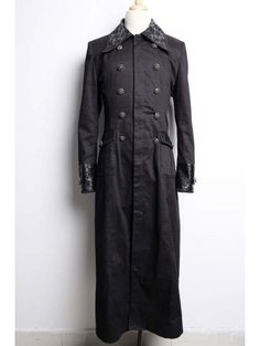 Men's Victorian Long Coat | Home > Gothic > Black Long Gothic Trench Coat for Men