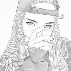 Cool Girl Drawings, Tumblr Girl Drawing, Tumblr Drawings, Girl Drawing Sketches, Cute Girl Drawing, Art Drawings Beautiful, Girly Drawings, Art Drawings Sketches Simple, Easy Drawings