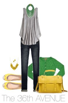 Cute! Love the green.  #gray #yellow #outfit