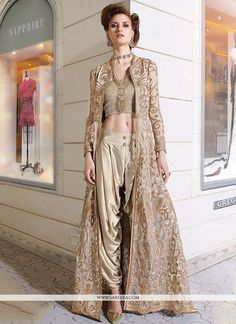 Make the heads turn as soon as you dress up with this beautiful beige georgette designer salwar suit. The embroidered and resham work appears chic and best for bridal, ceremonial and reception. Comes ...