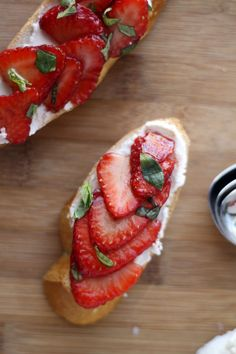 How cute is this for Valentine's! Or any day :) Balsamic Strawberries & Goat Cheese Crostini
