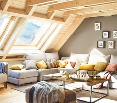 The owner of this beautiful wooden cottage in one of the ski resorts in the north of Spain always dreamed of a warm and cozy place where he could relax ✌Pufikhomes - source of home inspiration Living Room Trends, Living Room Inspiration, Home Living Room, Living Spaces, Attic Design, Interior Design, Wooden Cottage, A Frame Cabin, Cozy Place