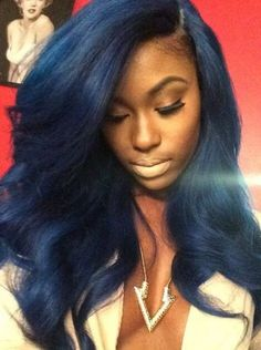black women with blue hair styles | Hair extension care and maintenance for black women http://www.shorthaircutsforblackwomen.com/coconut-oil-for-hair/