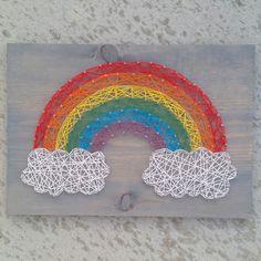 Custom string art rainbiw sign by Blossomingburlap on etsy