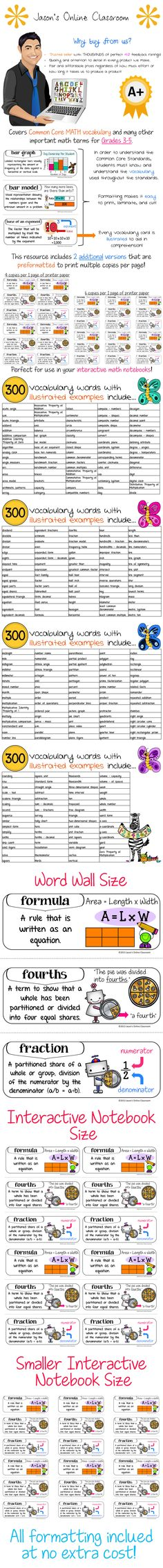 This resource is intended to be used with students in Grades 3-5. How can students learn the Math Common Core Standards if they don't know what the vocabulary used in the standards means? These cards are intended to help bridge that knowledge gap. This resource includes 300 vocabulary words, phrases, and concepts. This resource goes far beyond the words frequently used in the standards and includes tons of important vocabulary words that students NEED TO KNOW in order to be successful.  $$