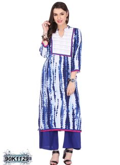 Ambitious Blue and White Coloured Rayon Printed Kurti