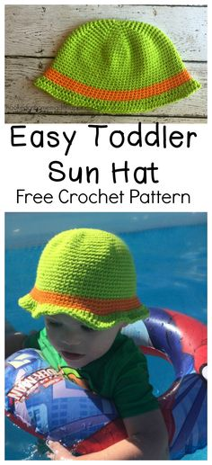 This Easy Toddler Sun Hat is a great beginner hat project and only uses a single crochet. It worked great in the pool because of the cotton yarn. It's comfortable, light, durable, and works well in water. Cotton yarn is my go-to for summer projects. And you can see the hat worked well to keep a lot of the sun out of my little guy's face. I promise he did enjoy the water… eventually.  Now he's like a fish! This pattern is available as an inexpensive, clearly formatted, PDF instant…