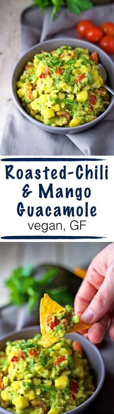Summer time is BBQ time. And snack time. And picnic time. This Roasted-Chili Mango Guacamole goes well with bread, chips, tortillas, nachos – basically with everything dip-able. The fruity sweetness gives this guacamole its unique flavor, giving you the most awesome summer sensations. #vegan and #glutenfree