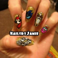 Cartoon Network The Regular Show Theme hand painted nail art Oval/almond nail style Rockstar gold Sparkles Nail Products Nails by Jamie Melchor #nailsbyjme on instagram @nailville Facebook.com/nailvillefresno :) xoxo