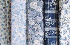 lot de 5 coupons tissus à fleurs bleues / patchwork : Tissus à thème par ginger75