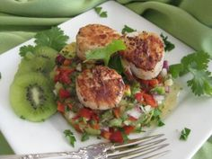 Chef Luther Jones' Very Simple yet Delicious Scallops with Avocado – Kiwi Salsa