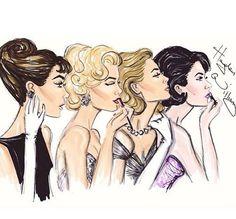 fashion illustration of Audrey Hepburn, Marilyn Monroe, Grace Kelly and Elizabeth Taylor by Hayden Williams. | v i n t a g e | Pinterest