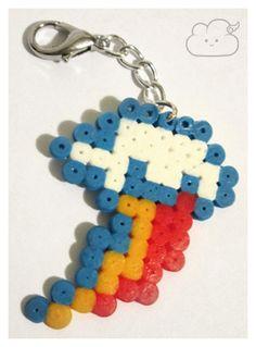 Perler beads - rainbow dash's cutie mark key-chain