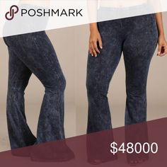 """PLUS SIZED BELL BOTTOMS PLUS SIZED Bell bottom pants with elastic waist.  These are comfortable and stretchy like yoga pants, just a bit thicker and dressier. These are hand-dyed so expect slight variations. 93% cotton. 7% spandex. Made in the USA. Model's measurements are 38D-33-40 and is wearing a 1X. Actual pictures are of a 2X. It's inseam is 33"""". Pants Boot Cut & Flare"""