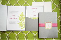 Lime Green, Fuchsia, White & Silver. Pocket Wedding Invite. Perfect for a Classy Summer Wedding! PolkaDotsandDaisies.com