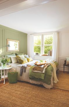 olive green, brown and cream colors and minimal decor gives this