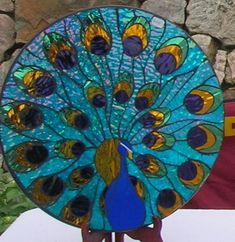 Peacock+Lazy+Susan+by+MosaicMoonStudio+on+Etsy