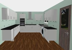 Grey Matte Shaker Cabinets with Black Quartz Worktops and Miele Appliances. Design Your Kitchen with the Free 3D Kitchen Planner.