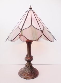 Vintage Tiffany STYLE Stained Glass Lamp  Light by SimplySalvage ON ETSY.