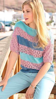 Пуловер с короткими рукавами с сочетанием узоров и цветов спицами