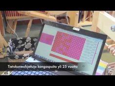 Mona Yrjölä esittelee videolla tietokoneohjattua kudontaa. Toika on valmistanut tietokoneohjattuja kangaspuita jo yli 25 vuotta.