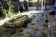 擬木枕木を敷いたお庭の全体