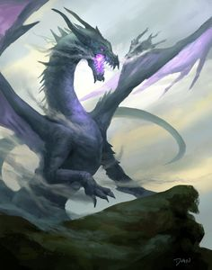 Doodle Purple Dragon by Daniel Lee