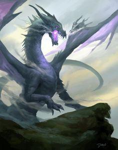 Doodle Purple Dragon by Daniel Lee