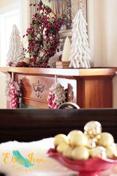 christmas decor, living room, wreath, mantel, white christmas trees, anthropologie stockings, antique fireplace, christmas tree,
