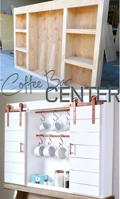 DIY Barn Door Coffee Bar Center with Copper Hardware perfect for your Home Kitchen.